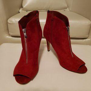 Red Peep-toe Booties